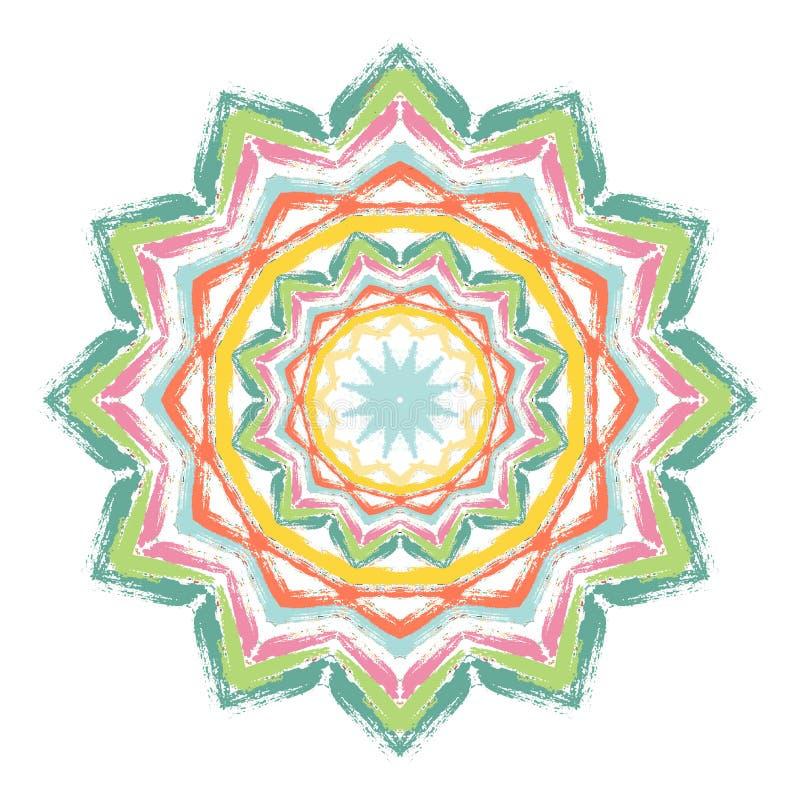 Geschilderde Mandala Colorful Brush Strokes stock illustratie