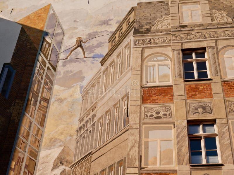 Geschilderde muur van een huis, Halle, Duitsland stock afbeelding