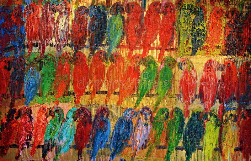 Geschilderde papegaaien stock fotografie