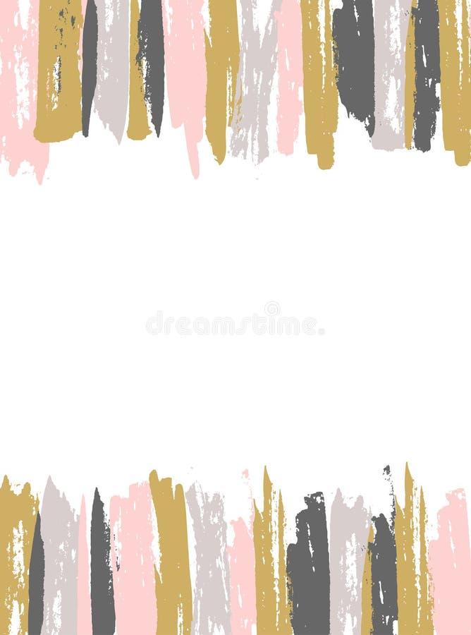 Geschilderde Roze en Gouden Gestreepte Achtergrond Vector Malplaatje stock illustratie