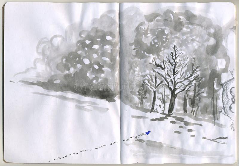 Geschilderde Sketchbook - sneeuw vector illustratie