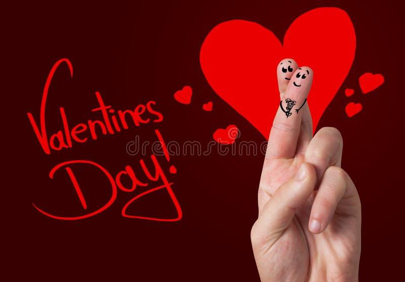 Geschilderde vingersmiley, de dag van de valentijnskaart royalty-vrije illustratie