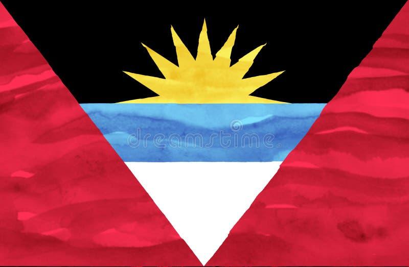 Geschilderde vlag van Antigua en Barbuda stock foto