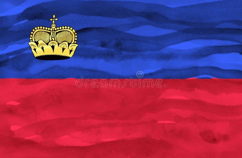 Geschilderde vlag van Lichtenstein royalty-vrije stock foto