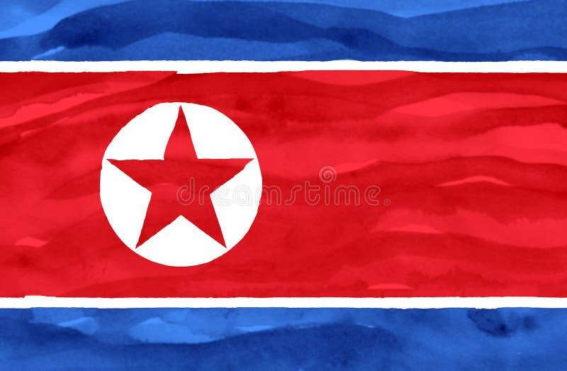 Geschilderde vlag van Noord-Korea royalty-vrije stock fotografie