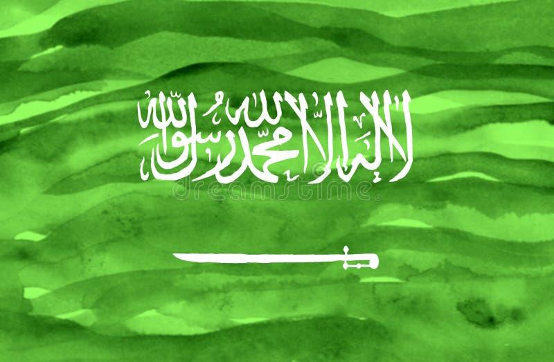 Geschilderde vlag van Saudi-Arabië stock afbeelding