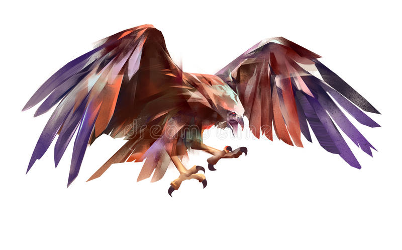 Geschilderde vliegende adelaar op een witte achtergrond royalty-vrije illustratie