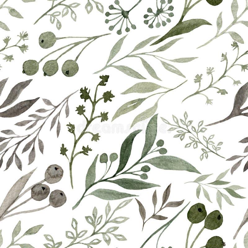 Geschilderde Watercolourillustratie van hand Watercolour naadloos patroon met elementen royalty-vrije illustratie