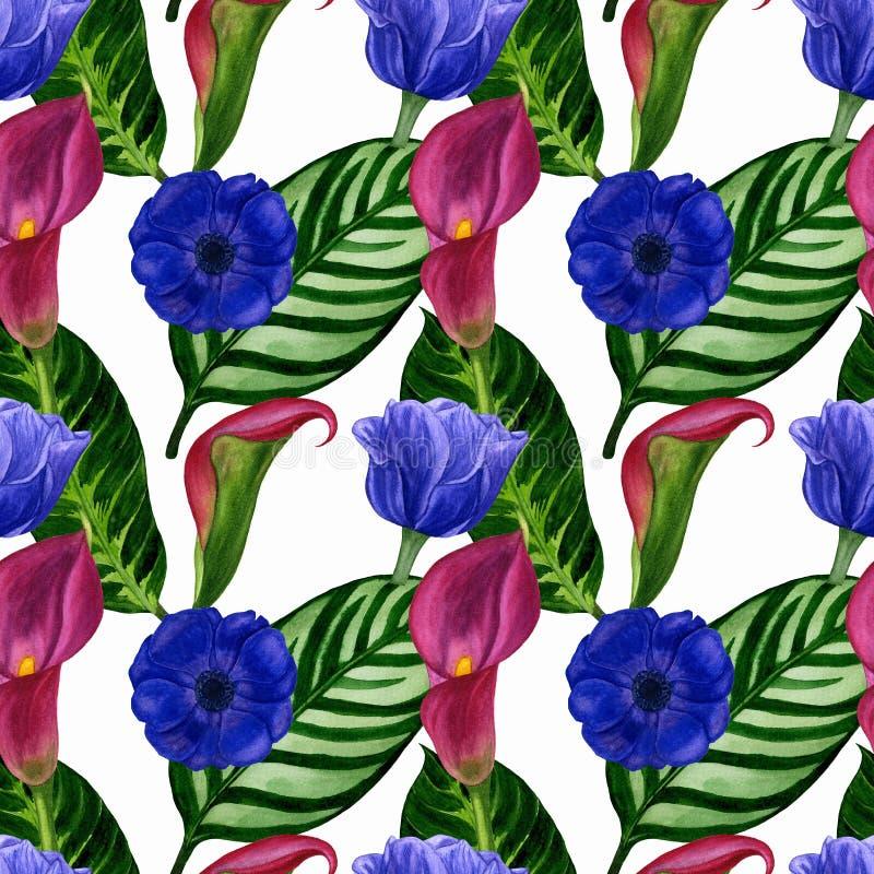Geschilderde waterverfillustratie van hand Naadloos patroon met bloemen en bladeren royalty-vrije illustratie