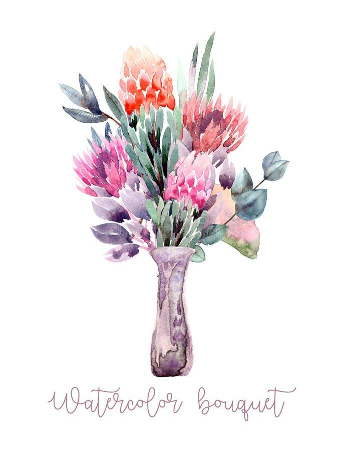 Geschilderde waterverfsamenstelling van bloemen in pastelkleuren: protea, eucalyptus, gingko in vaas Element voor ontwerp vector illustratie