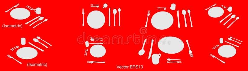 Geschirrikone, lokalisiertes Zeichen Vektor, lokalisiert, ENV 10 stock abbildung