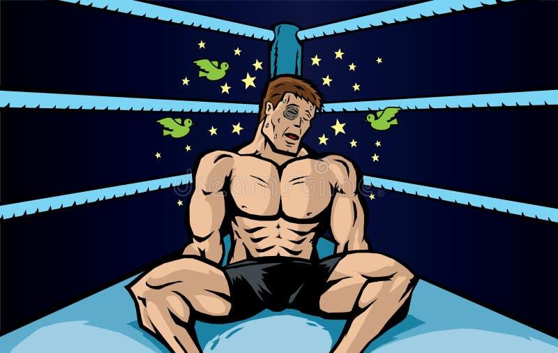 Geschlagener Boxer stock abbildung