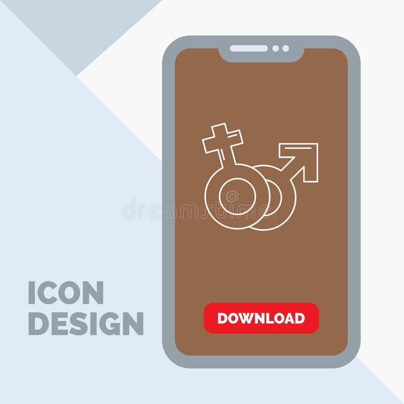 Geschlecht, Venus, Mars, männliche, weibliche Linie Ikone im Mobile für Download-Seite stock abbildung