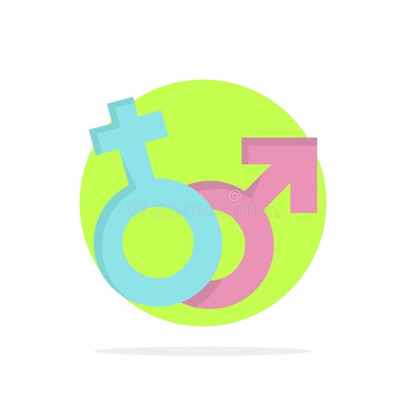 Geschlecht, Venus, Mars, männlicher, weiblicher flacher Farbikonen-Vektor vektor abbildung