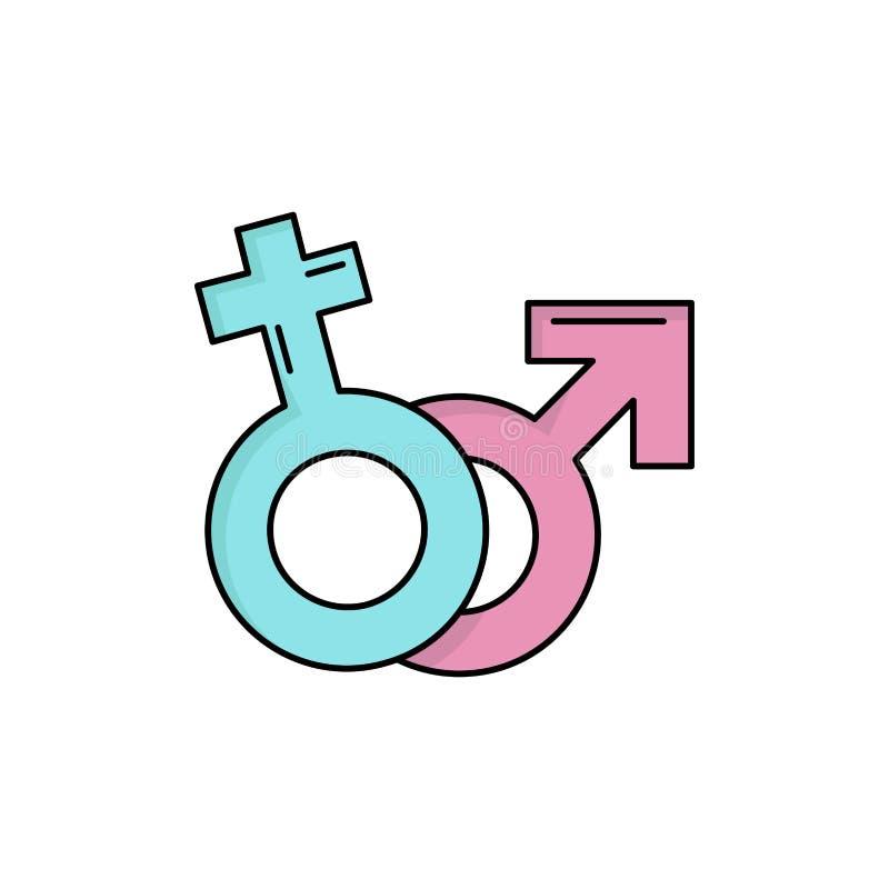 Geschlecht, Venus, Mars, männlicher, weiblicher flacher Farbikonen-Vektor stock abbildung