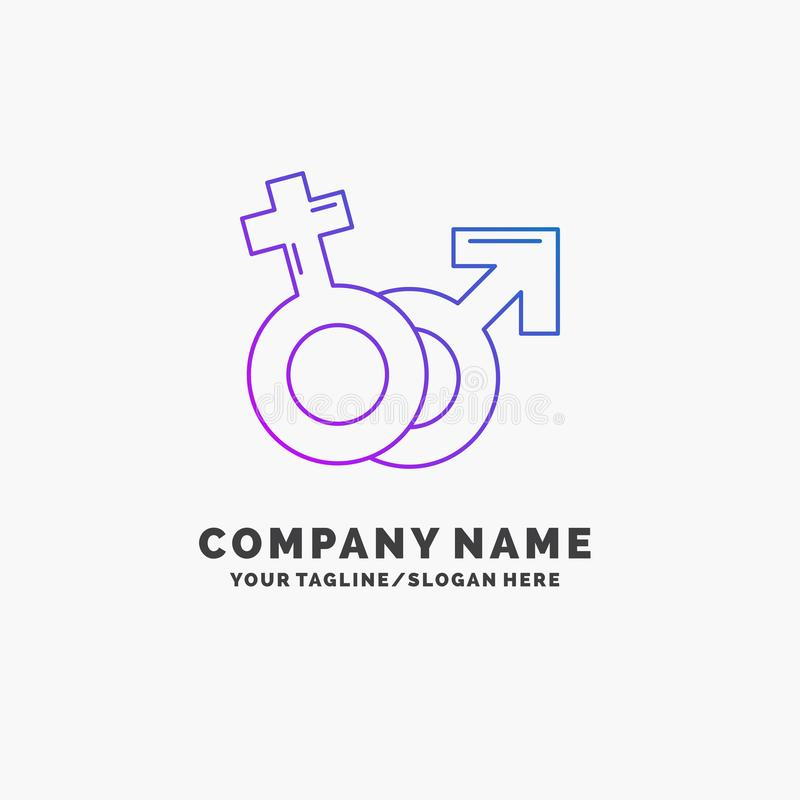 Geschlecht, Venus, Mars, m?nnliches, weibliches purpurrotes Gesch?ft Logo Template Platz f?r Tagline stock abbildung