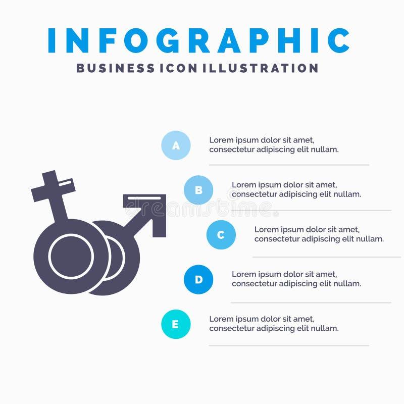 Geschlecht, Venus, Mars, Mann, weibliche Infographics-Schablone f?r Website und Darstellung Graue Ikone des GLyph mit blauer info vektor abbildung