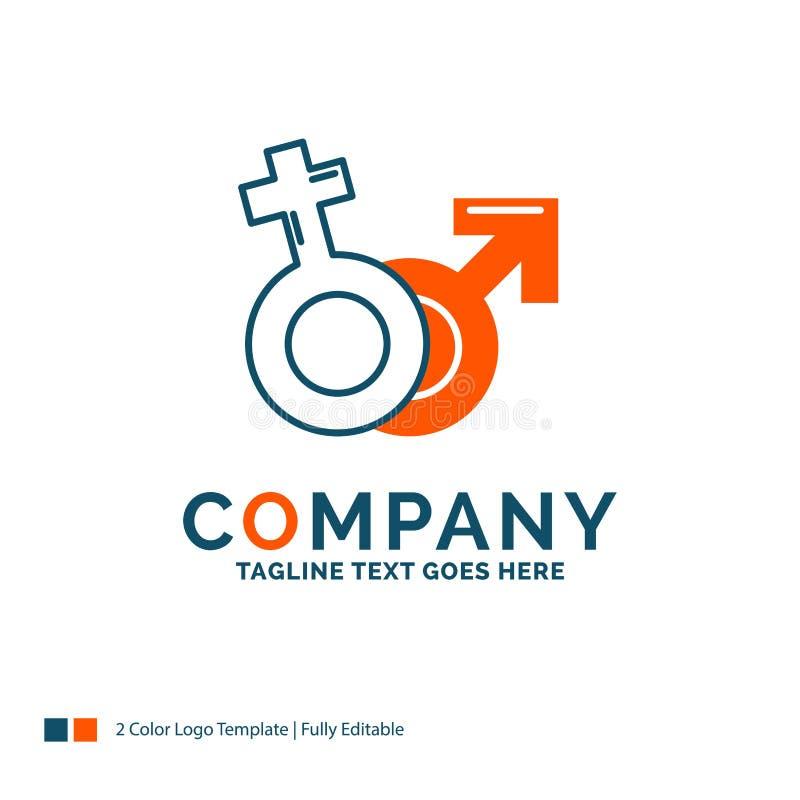 Geschlecht, Venus, Mars, Mann, weiblicher Logo Design Blaues und orange B lizenzfreie abbildung