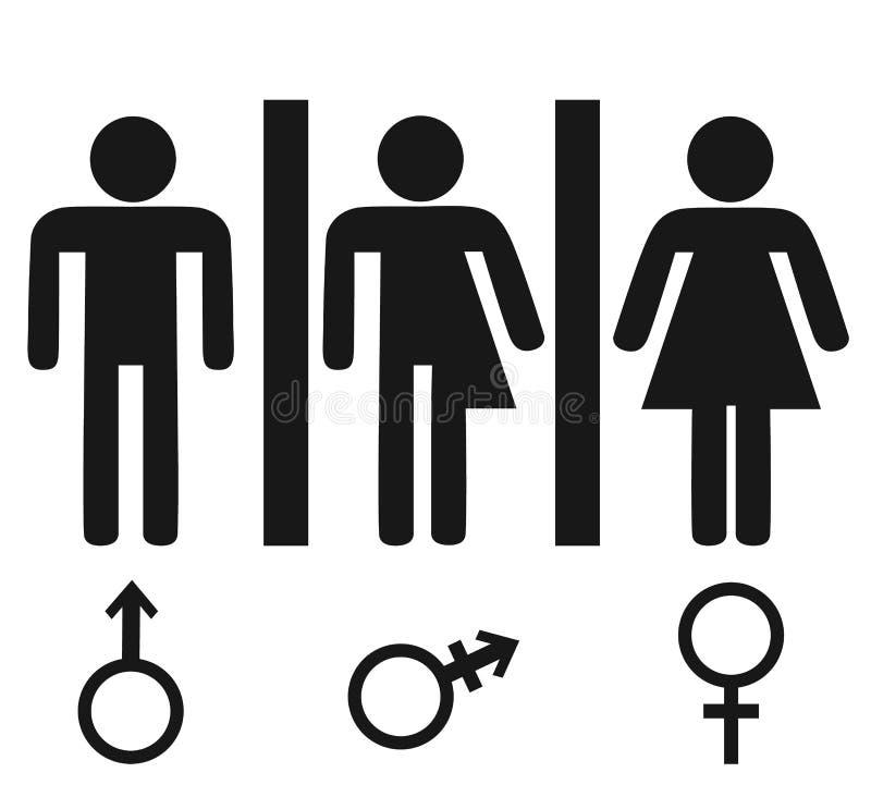 Geschlechts-Ikone Lokalisierter minimaler Entwurf des Mannes und der Frau Ikone Toilettenlinie Ikone, Entwurfsvektorzeichen, line stock abbildung