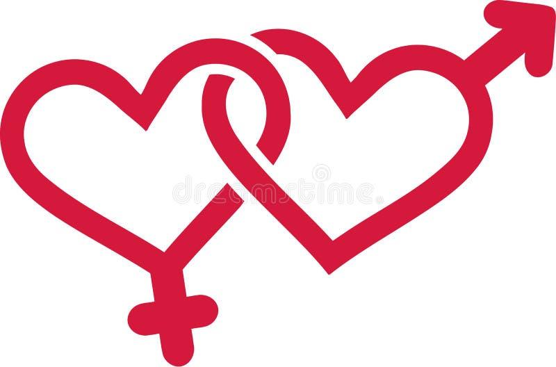 Geschlechtssymbole mit Herzen stock abbildung