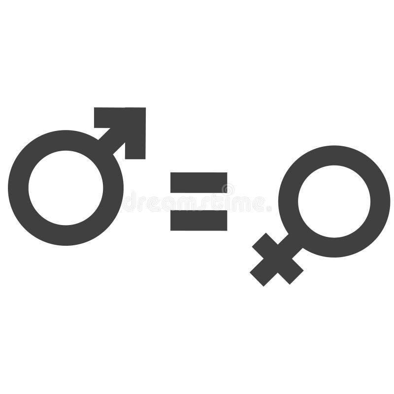 Geschlechtsungleichheit und Gleichheitsikonensymbol Männlich-weibliche Mädchenjungenfrauen-Mannikone Mars- und Venussymbolillustr stock abbildung