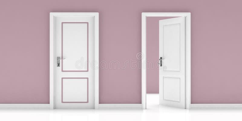 Geschlossen und offene Tür auf rosa Wand und weißem Bodenhintergrund Abbildung 3D lizenzfreie abbildung