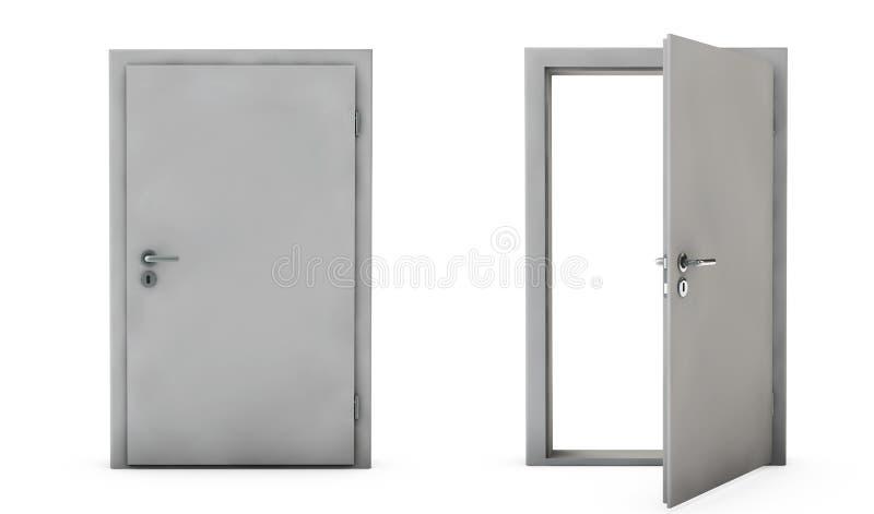 Geschlossen und offene Türen 3D übertragen Sie stock abbildung
