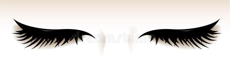 Geschlossene Augen mit großen Peitschen Abbildung Vektor lizenzfreie abbildung