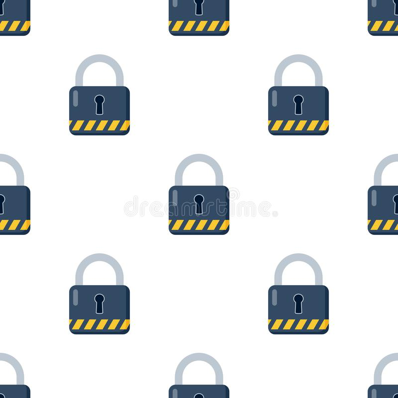 Geschlossene blaue Vorhängeschloss-Ikonen-nahtloses Muster stock abbildung