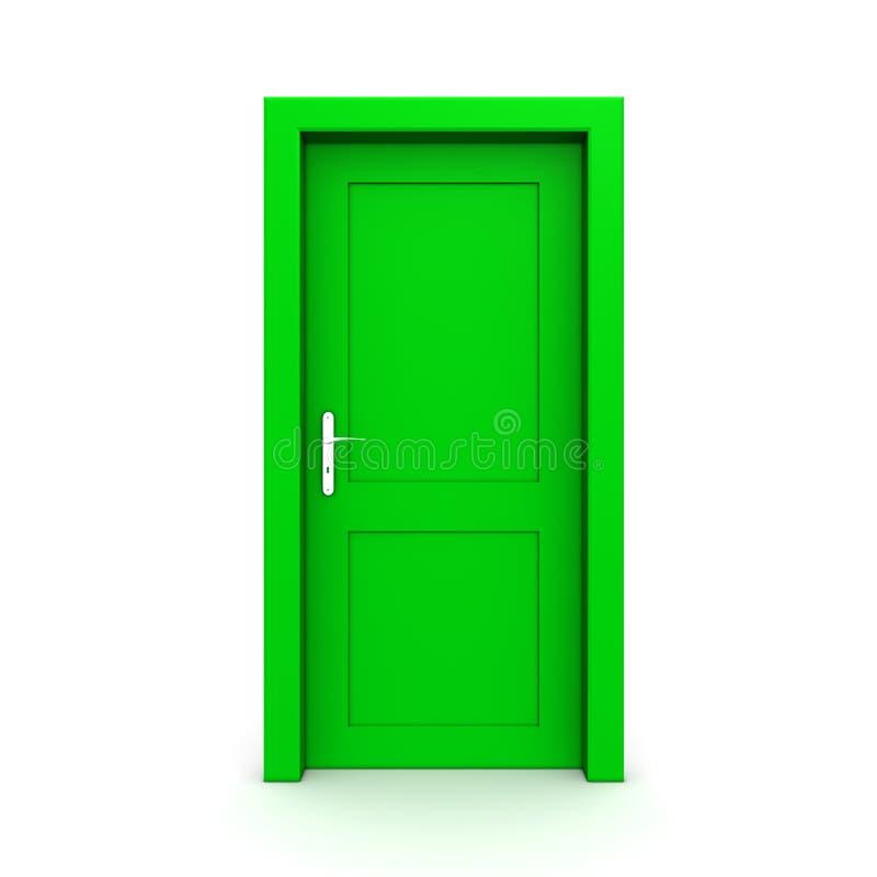Geschlossene einzelne grüne Tür stock abbildung