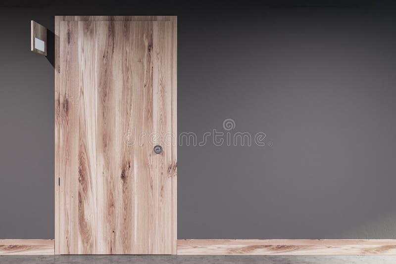 Geschlossene Holztür in der grauen Wand, Türzeichen vektor abbildung