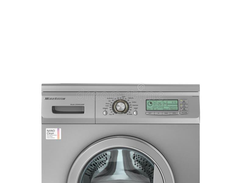 geschlossene moderne waschmaschine in der metallischen farbe stock, Attraktive mobel