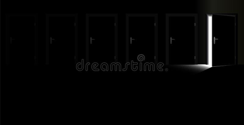 Geschlossene Schimmer-Hoffnung der Tür-offenen Tür lizenzfreie abbildung