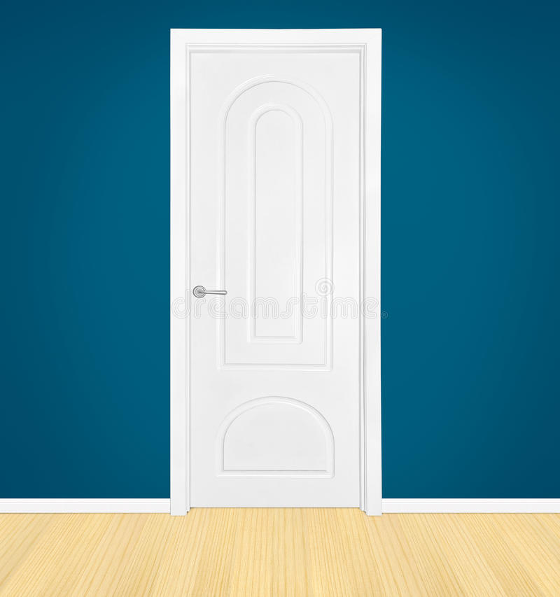 Geschlossene weiße Tür stockbild