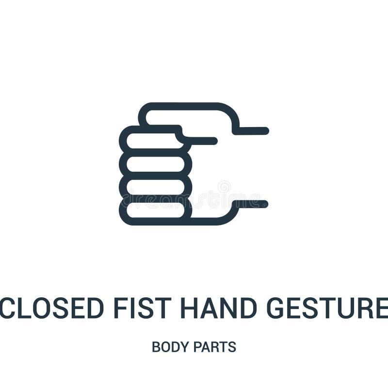 geschlossener Fausthandzeichen-Ikonenvektor von der Körperteilsammlung Dünne Linie geschlossener Fausthandzeichenentwurfs-Ikonenv vektor abbildung