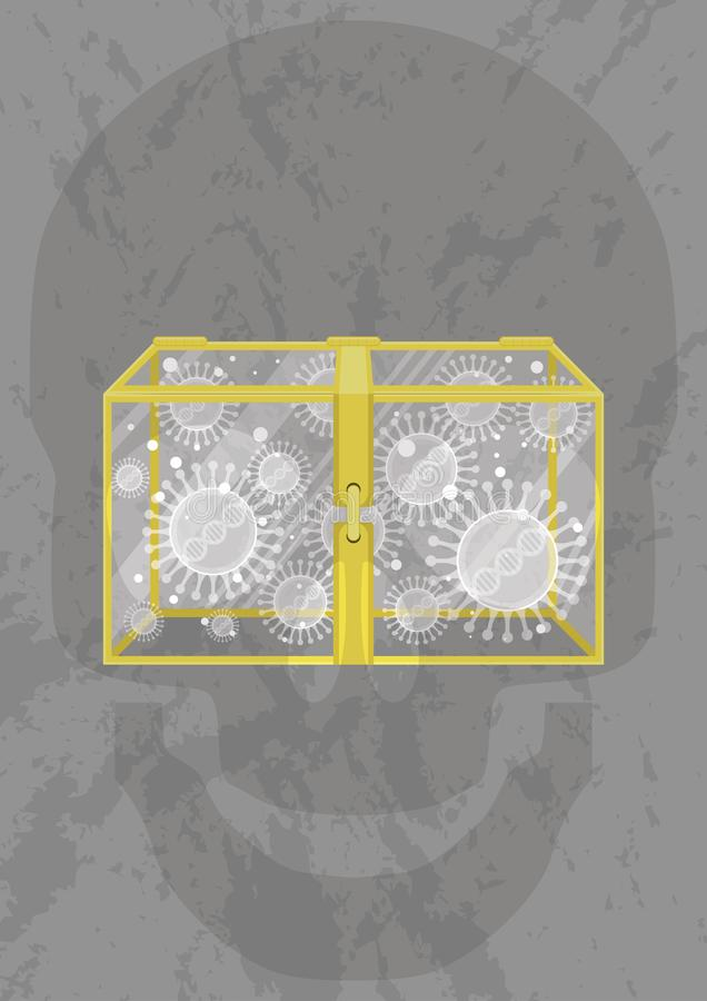 Geschlossener Kasten mit Virus stock abbildung