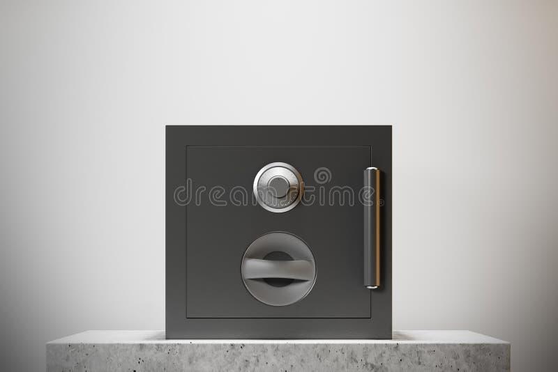 Geschlossener sicherer Kasten, weiße Wand lizenzfreie abbildung