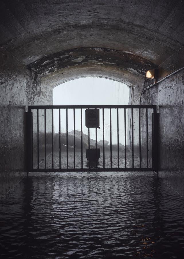 Geschlossener Tunnel, der zu einen Wasserfall führt lizenzfreie stockfotos