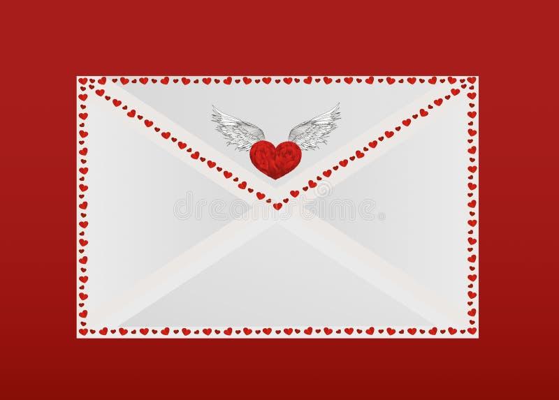 Geschlossener Umschlag mit Herzen auf dem Umkreis Valentinsgruß `s Tag lizenzfreie abbildung