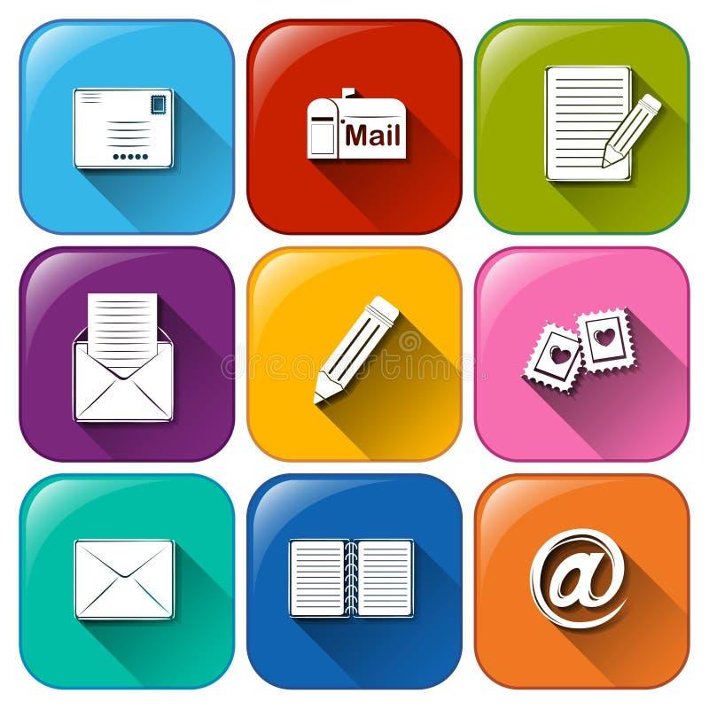 Geschlossener und geöffneter Umschlag mit verschiedenen Zeichen lizenzfreie abbildung