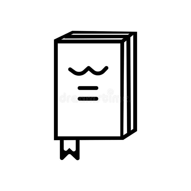 Geschlossenes Buch mit Markierungsikonenvektor lokalisiert auf weißem Hintergrund, geschlossenes Buch mit Markierungszeichen, lin stock abbildung