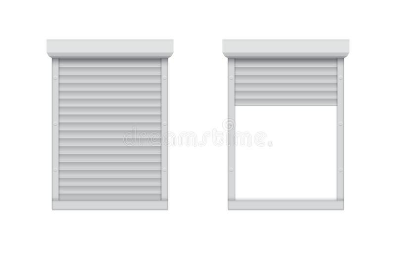 Geschlossenes und geöffnetes Rollenfensterladenfenster vektor abbildung