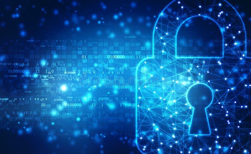 Geschlossenes Vorhängeschloß auf digitalem Hintergrund, Internetsicherheit und Internet Sicherheit stock abbildung