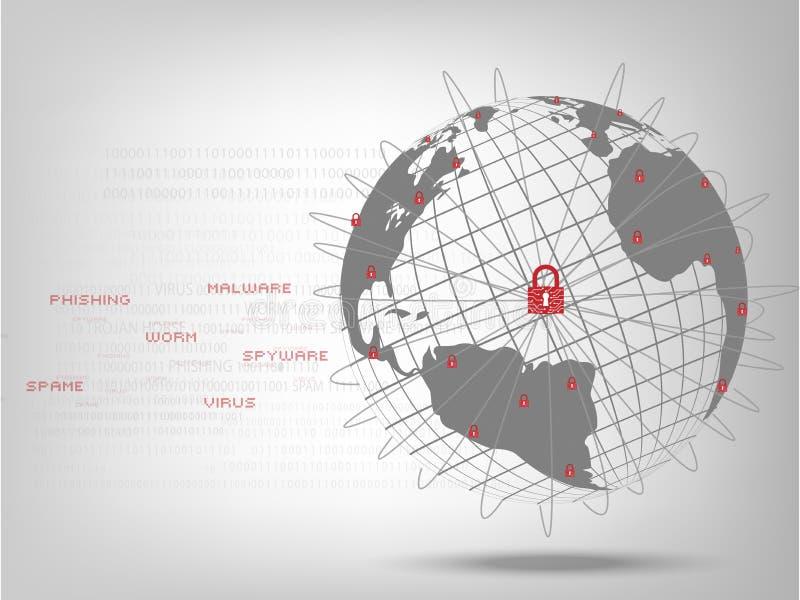 Geschlossenes Vorhängeschloß schützen Weltglobales netzwerk stock abbildung