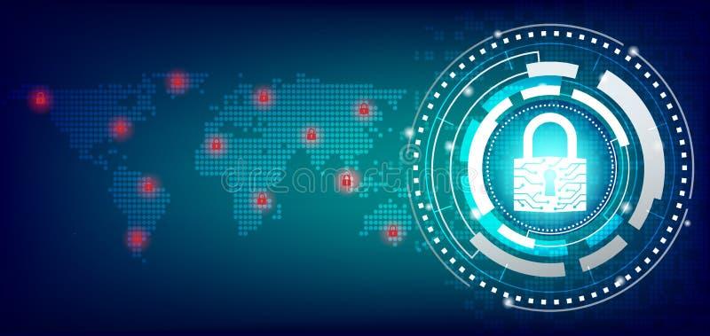 Geschlossenes Vorhängeschloß schützen Weltglobales netzwerk auf zukünftigem Technologiehintergrund stock abbildung