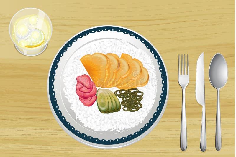 Geschmückter Reis mit Fruchtscheiben im Teller stock abbildung