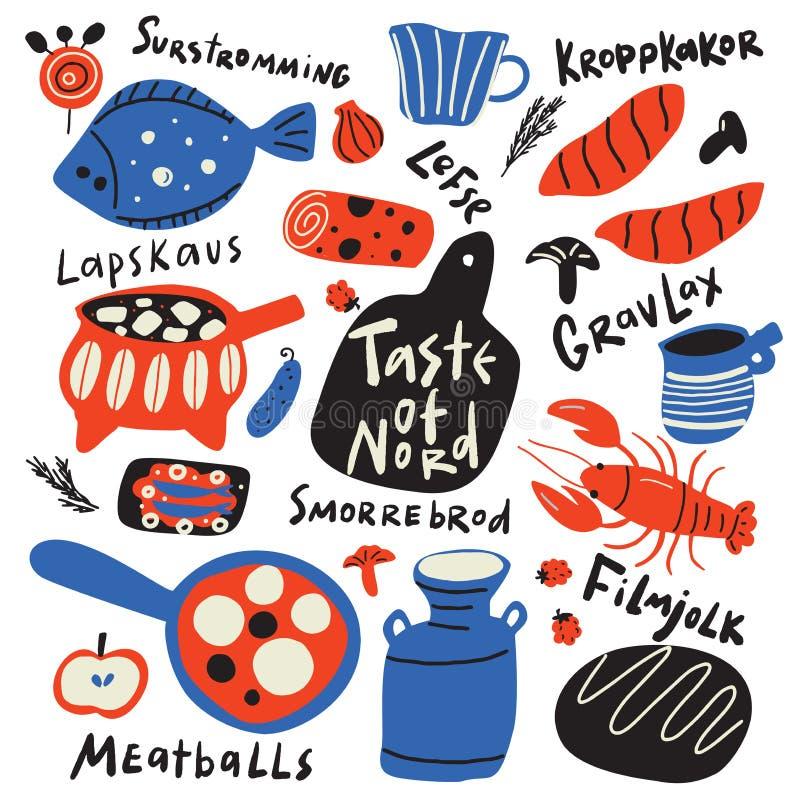 Geschmack der nord lustige Handgezogenen typografischen Illustration der verschiedenen skandinavischen Nahrung und der Küchenware vektor abbildung