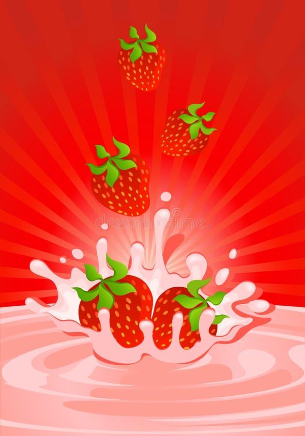 Geschmackvolle Erdbeere im Joghurt stock abbildung