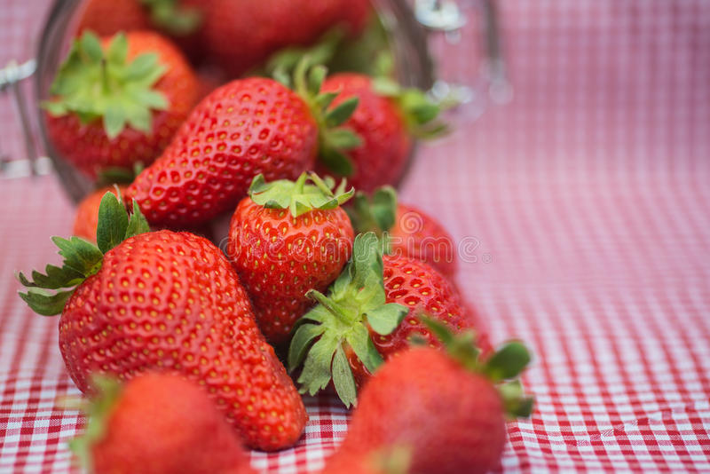 Geschmackvolle frische Erdbeeren im Glasspeicherglas lizenzfreies stockfoto