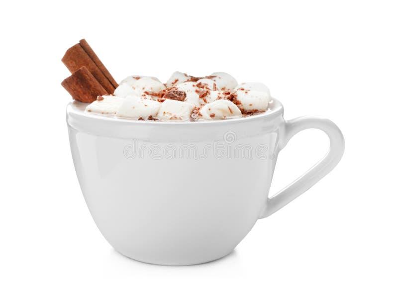 Geschmackvolle heiße Schokolade mit Milch und Eibischen in der Schale lizenzfreie stockbilder